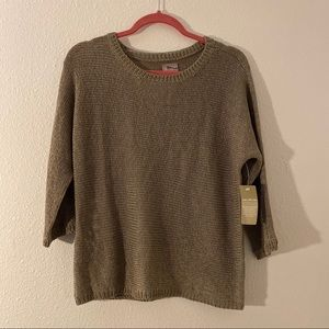 Chico's Cordani Boat-Neck 3/4 Sleeve Sweater Brown